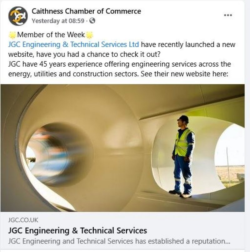 JGC Engineering are 'Member of the Week' at Caithness Chamber of Commerce image
